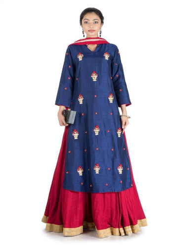 Charming Navy Blue Color Silk Fabric Lehenga