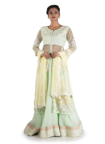 Charming Turquoise Color Georgette Fabric Lehenga