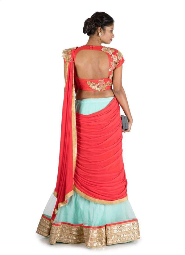 Charming Red Color Silk Fabric Saree