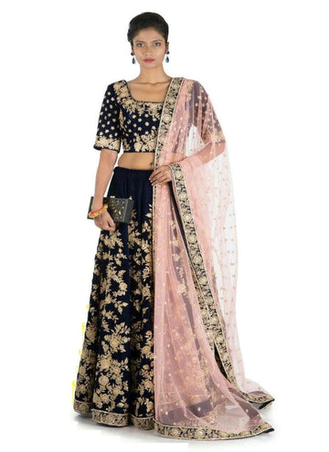 Charming Navy Blue Color Velvet Fabric Lehenga
