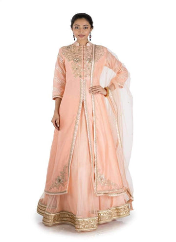 Charming Peach Color Chanderi Fabric Lehenga