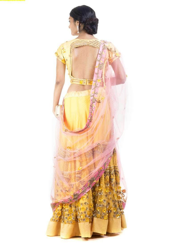 Adorable Yellow Color Net Fabric Lehenga