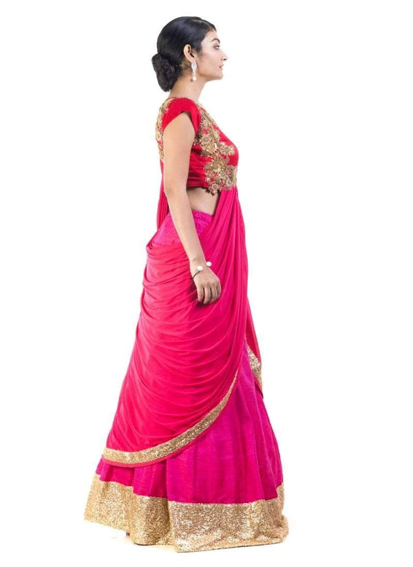 Adorable Red Color Silk Fabric Lehenga