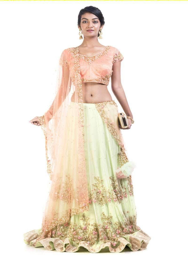 Sensational Orange Color Silk Fabric Lehenga