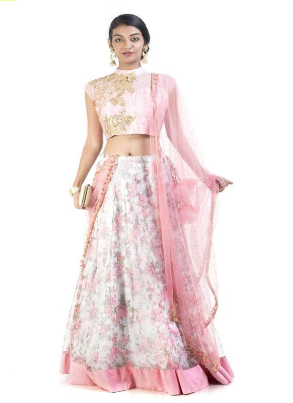 Sensational Pink Color Silk Fabric Lehenga
