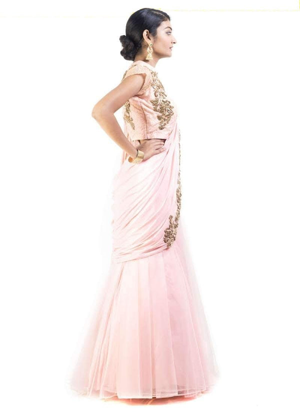 Adorable Peach Color Net Fabric Lehenga