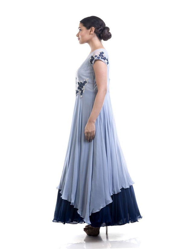 Adorable Grey Color Chiffon Fabric Gown