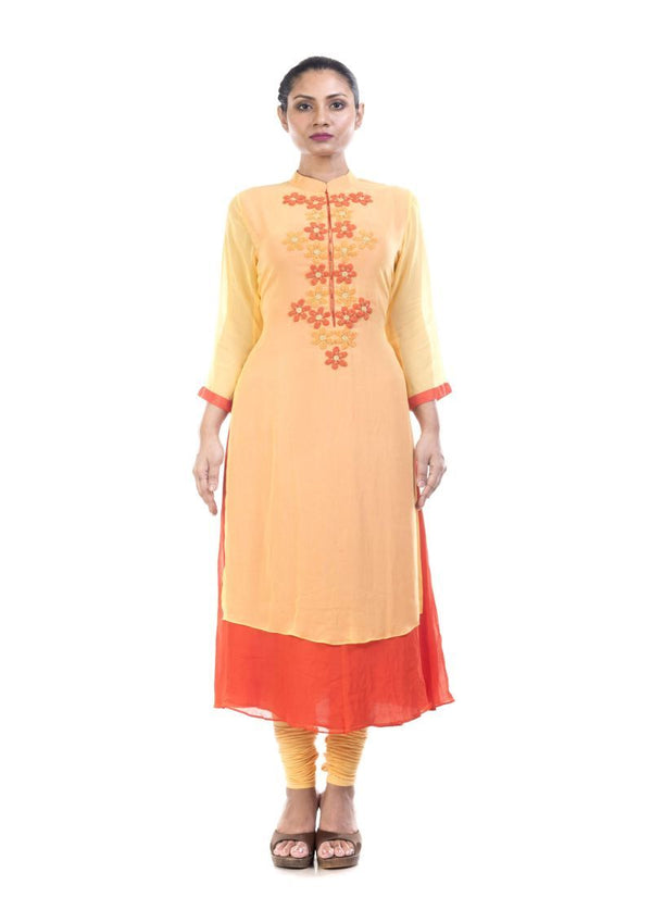 Adorable Musturd Color Georgette Fabric Kurti