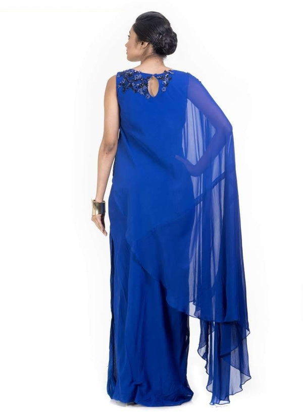 Incredible Blue Color georgette Fabric Gown