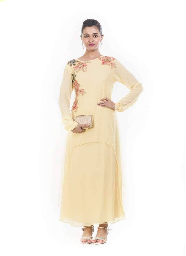 Incredible Cream Color Georgette Fabric Designer Kurti