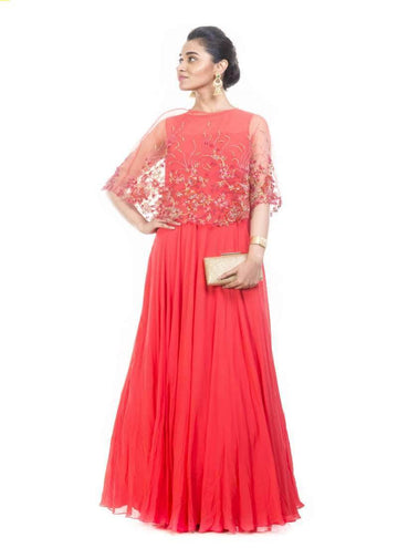 Incredible Red Color Georgette Fabric Gown