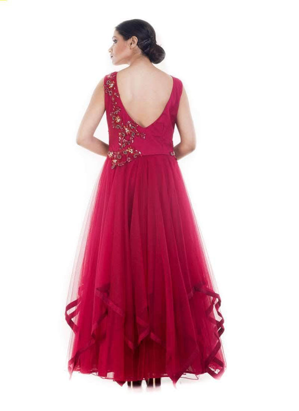 Marvelous Maroon Color Net Fabric Gown