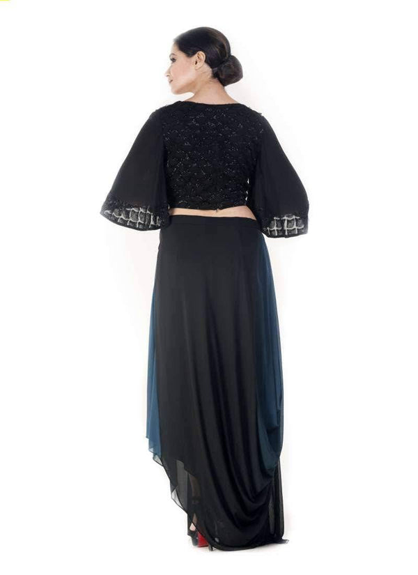 Marvelous Black Color Georgette Fabric Indowestern