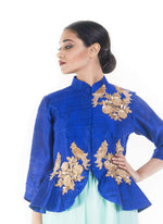 Marvelous Blue Color Silk Fabric Indowestern