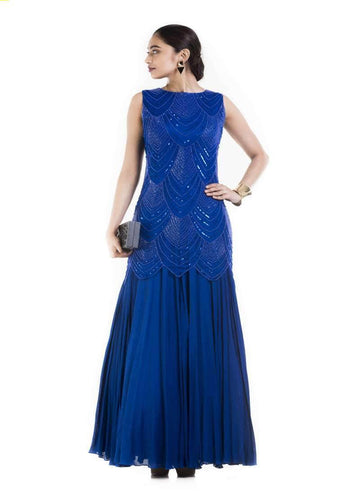 Amazing Blue Color Net Fabric Gown
