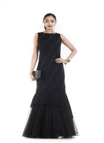 Amazing Black Color Georgette Fabric Gown