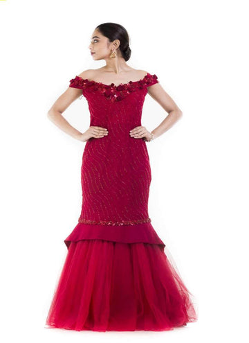 Amazing Maroon Color Georgette Fabric Gown