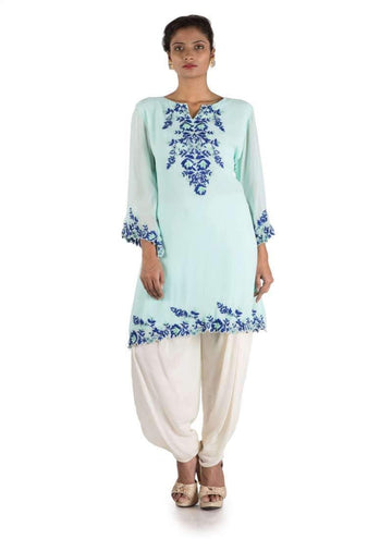Charming Aqua Color Georgette Fabric Kurti