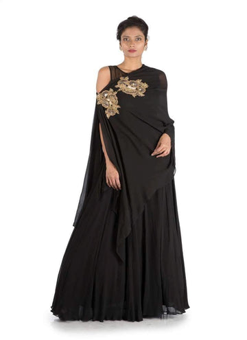 Charming Black Color Georgette Fabric Gown
