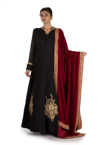Charming Black Color Georgette Fabric Salwar Kameez