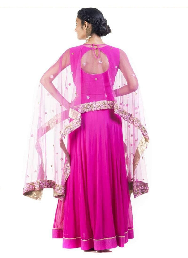 Adorable Pink Color Georgette Fabric Gown