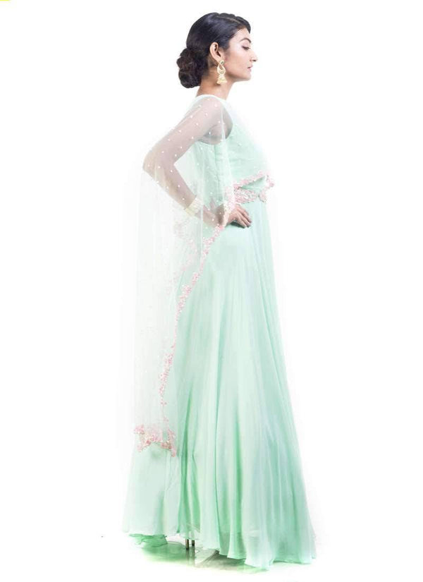 Sensational Turquoise Color Georgette Fabric Gown