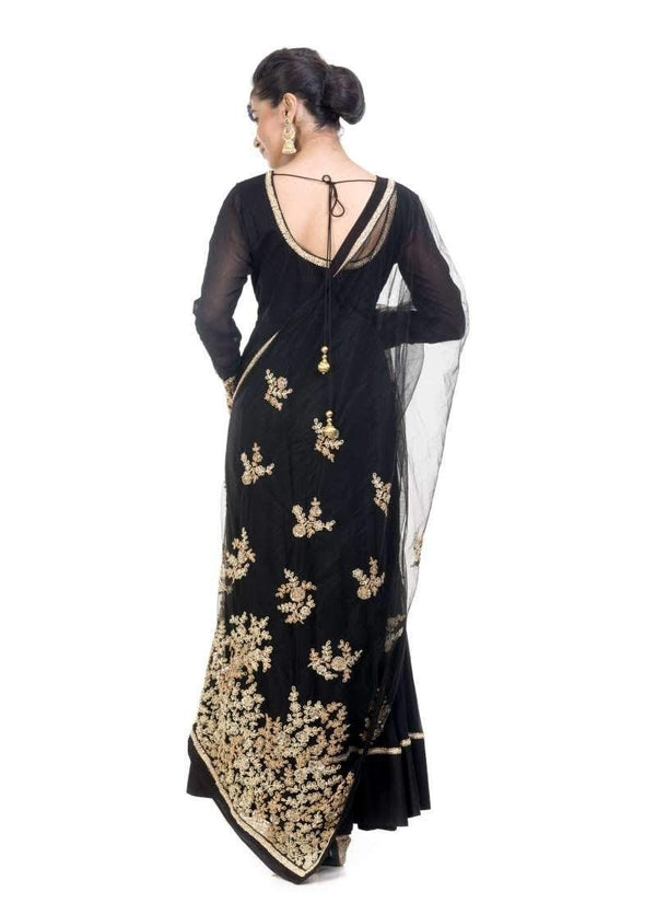 Incredible Black Color georgette Fabric Gown