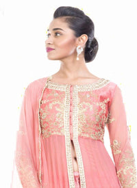 Incredible Peach Color Georgette Fabric Partywear Suits