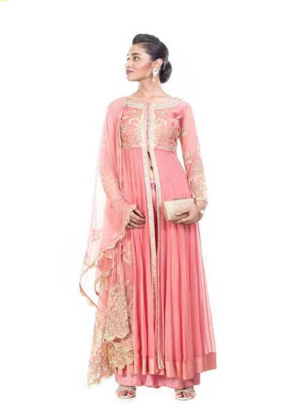 Incredible Peach Color Georgette Fabric Partywear Suit