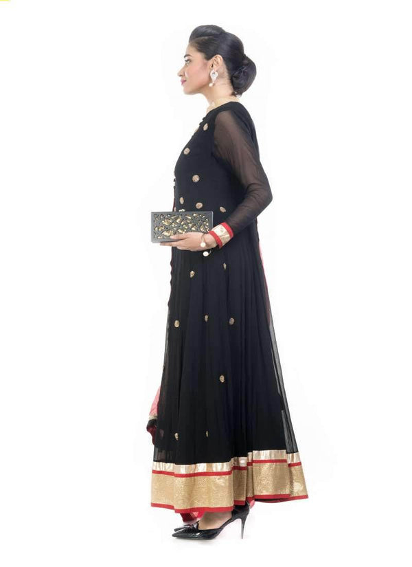 Incredible Black Color Georgette Fabric Partywear Suit