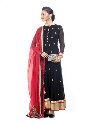 Incredible Black Color Georgette Fabric Partywear Suits