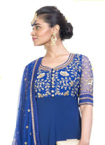 Incredible Blue Color Georgette Fabric Partywear Suit