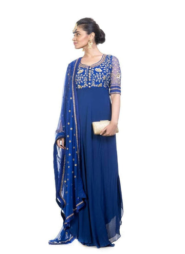 Incredible Blue Color Georgette Fabric Partywear Suits