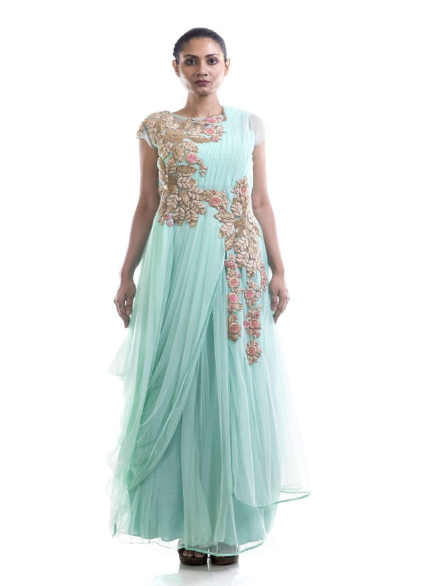 Fantastic Aqua Color Net Fabric Gown