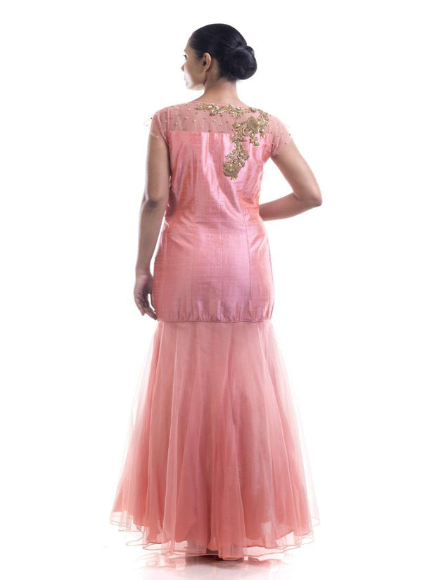 Fantastic Peach Color Silk Fabric Gown