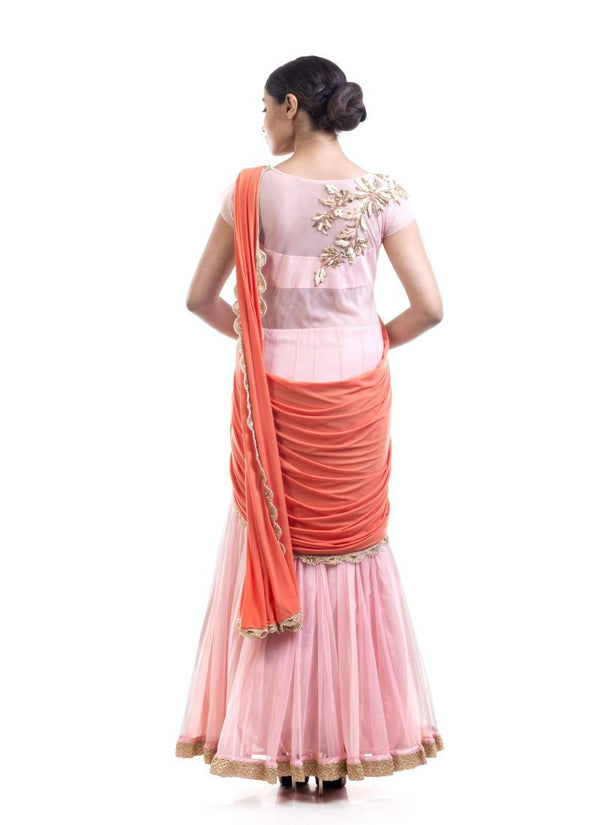 Fantastic Pink Color Net Fabric Gown