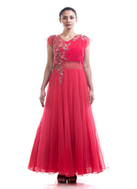 Fantastic Red Color Chiffon Fabric Gown