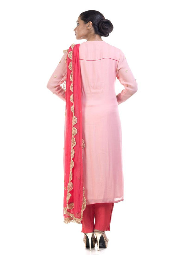 Fantastic Pink Color Georgette Fabric Slawar Kameez