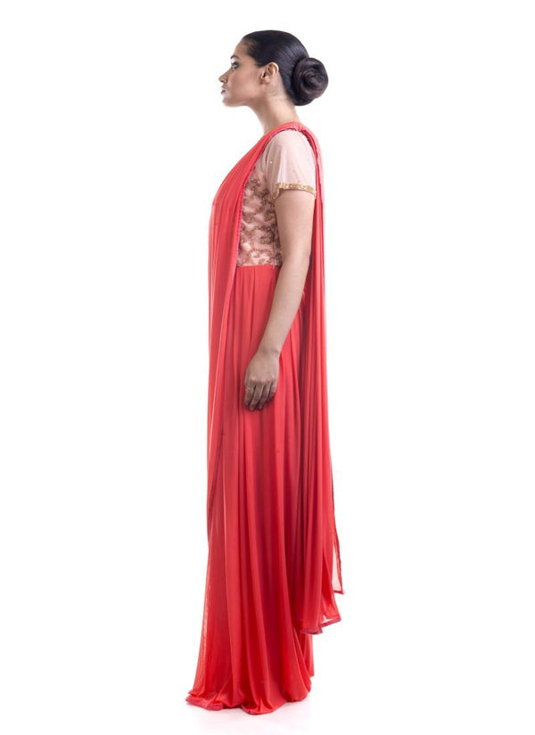 Fantastic Coral Color Lycra Fabric Gown