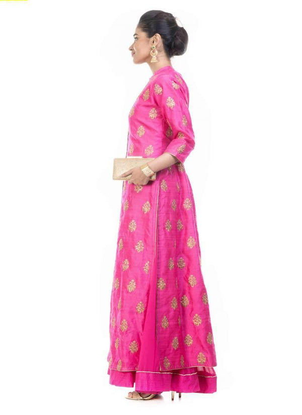 Incredible Pink Color Georgette Fabric Partywear Suit