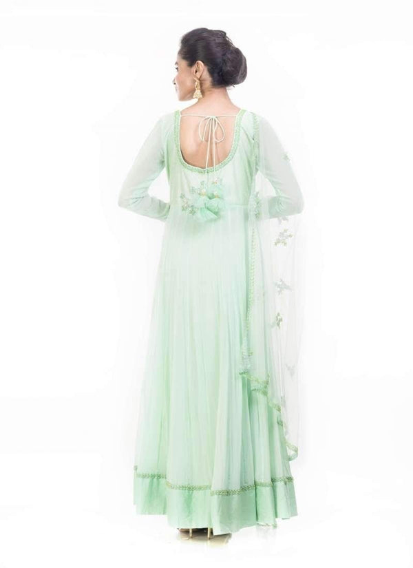 Incredible Turquoise Color Georgette Fabric Partywear Suit