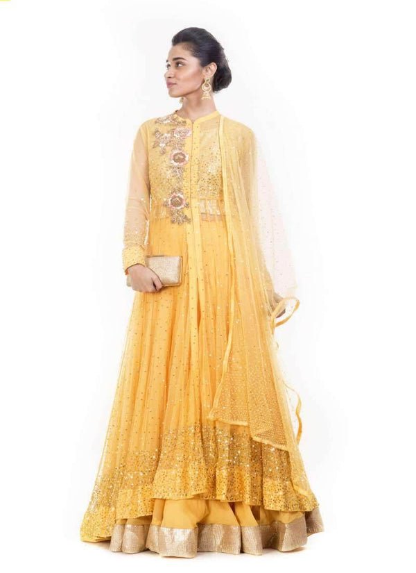 Incredible Musturd Color Net Fabric Party Wear Lehenga