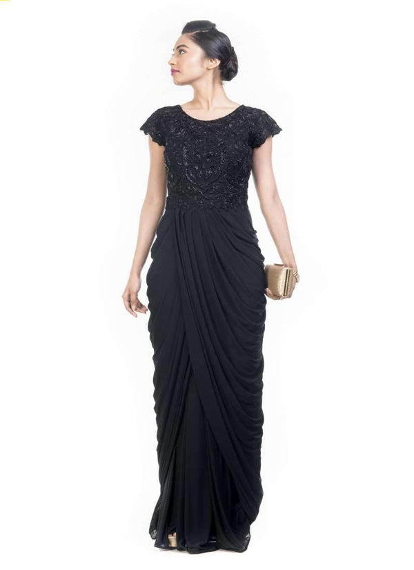 Incredible Black Color Lycra Fabric Gown
