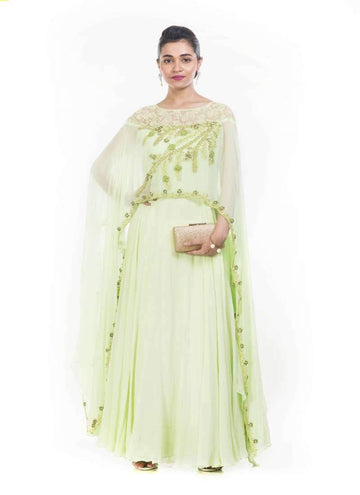 Incredible Green Color Georgette Fabric Gown