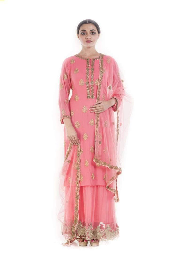 Marvelous Coral Color Georgette Fabric Designer Kurti