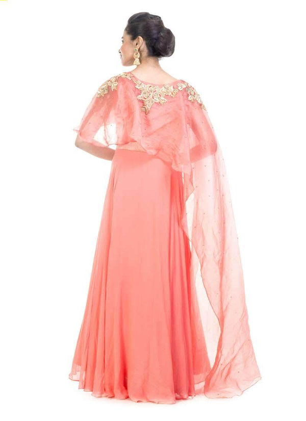 Incredible Coral Color georgette Fabric Gown