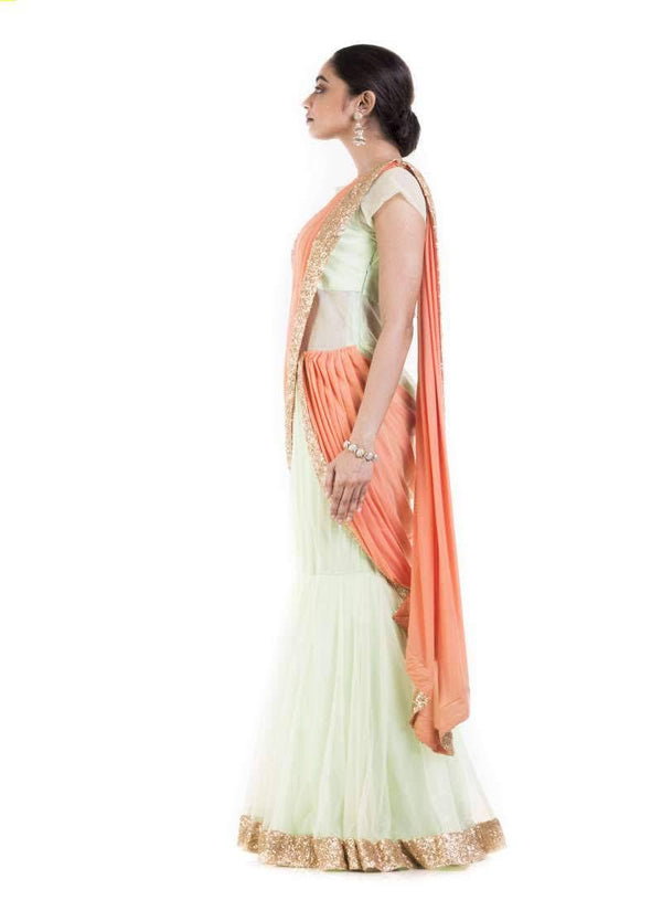 Amazing Green Color Georgette Fabric Gown