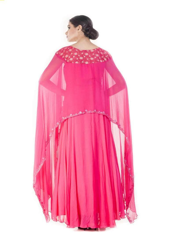 Marvelous Magenta Color Georgette Fabric Gown