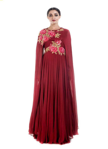 Marvelous Maroon Color Georgette Fabric Gown