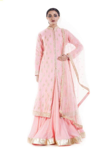 Marvelous Pink Color Silk Fabric Partywear Lehenga